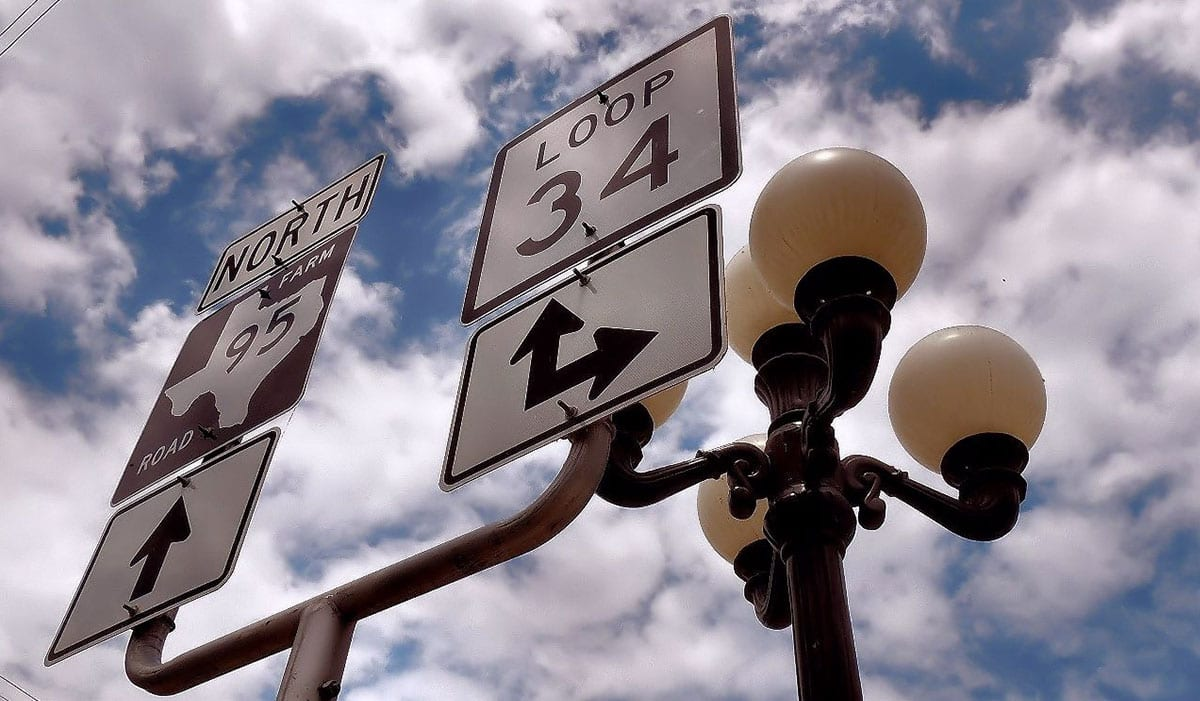 Street direction signages with a lamppost